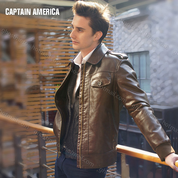 819258c48b0 Free Shipping Fashion New Marvel s the Avengers Captain America Chris Evans  Jacket brown mens casual PU leather coat jacket-in Faux Leather Coats from  Men s ...