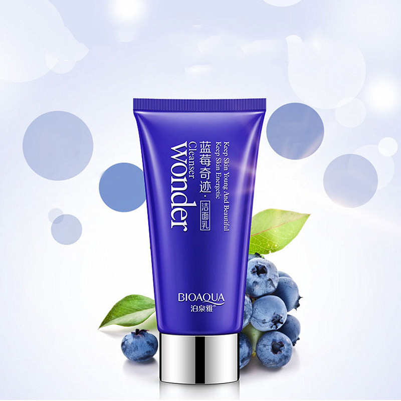 2Pcs BIOAQUA Blueberry Facial Cleanser Plant Extract Rich Foaming Facial Cleansing Moisturizing Oil Control Face Skin Care