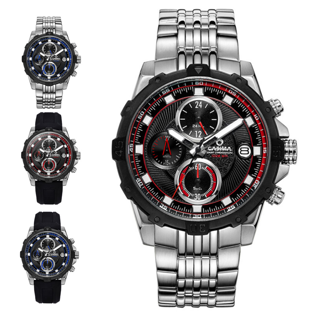 Men's Quartz Stainless Steel/Silicone Strap Watch Sports Luminous Waterproof Wristwatch TT@88 цена и фото