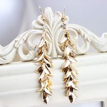 Fashion Trendy Jewelry Metal Sequins Crystal Female Long Dangle Earrings Gold Silver Design