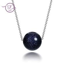 Sterling Silver 925 Necklaces Women Jewelry Natural Stone Blue Sand Sun Sitara Aventurine Round Beads Korean Style