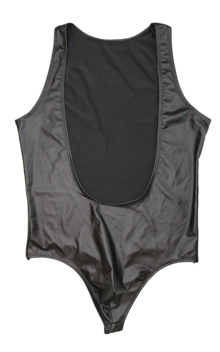 Fashion Men Faux Leather thong comfortable Man Sexy Fitness Bodybuilding Sheer Bodysuit Gay Slim Shaper Underwear Shapewear