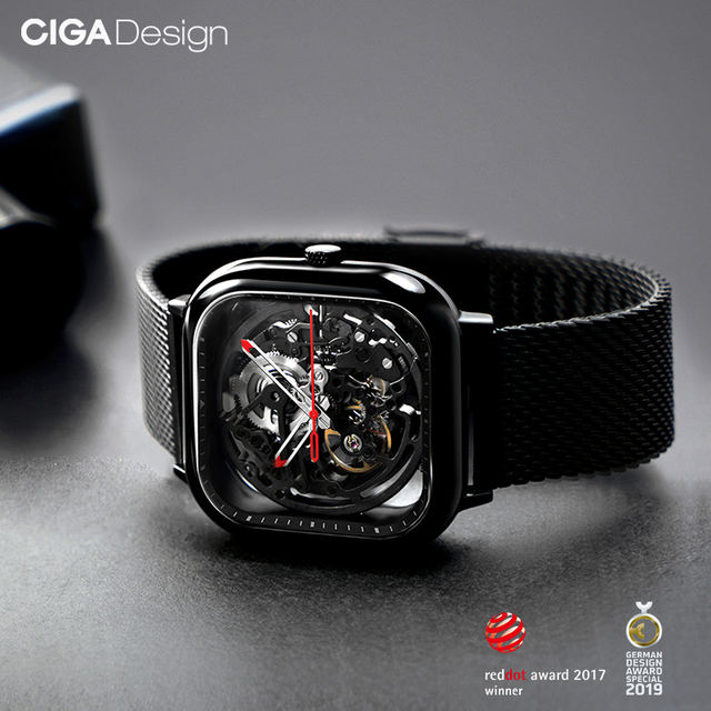 CIGA Hollow Out Mechanical Wristwatches Stainless Fashion Luxury Reddot Winner Watch