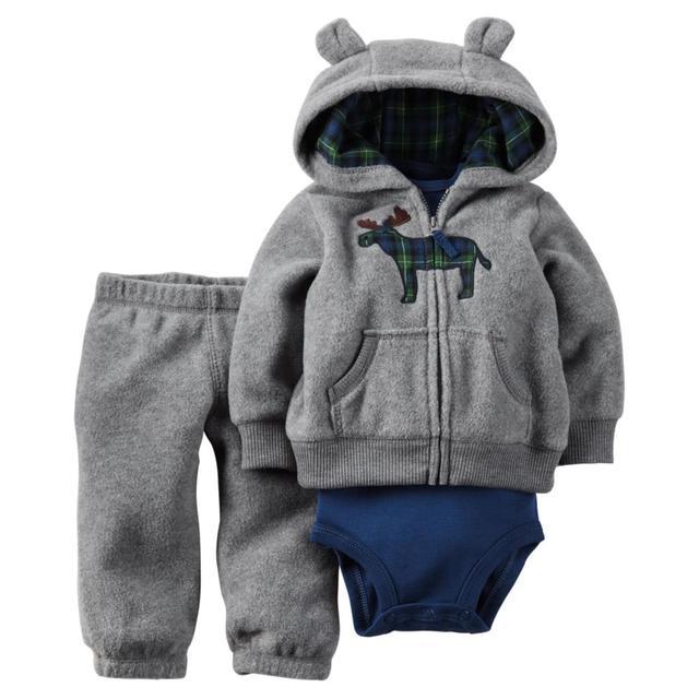 2017 roupas bebes menino menina roupa do bebê 3 peça de set, conjunto de roupas de bebê bebes inverno novo estilo snowsuit roupas abrigos