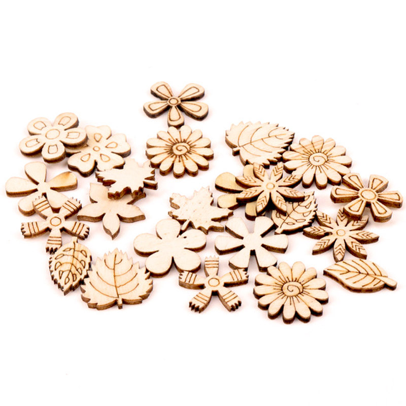 Natual Flower Leaves Pattern Wooden Scrapbooking Art Collection Craft For Handmade Accessory Sewing Home 20-30mm 50pcs MZ166