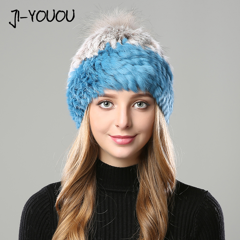Chapeaux d'hiver pour femmes beanie filles 2018 chapeau avec pompon pour femmes vison casquette fourrure chapeaux lapin cagoule casquette Skullies hiver chapeau