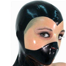 new rushed rubber sexy exotic lingerie handmade black latex spliced transparent open eyes mask hoods hood cekc zentai uniform