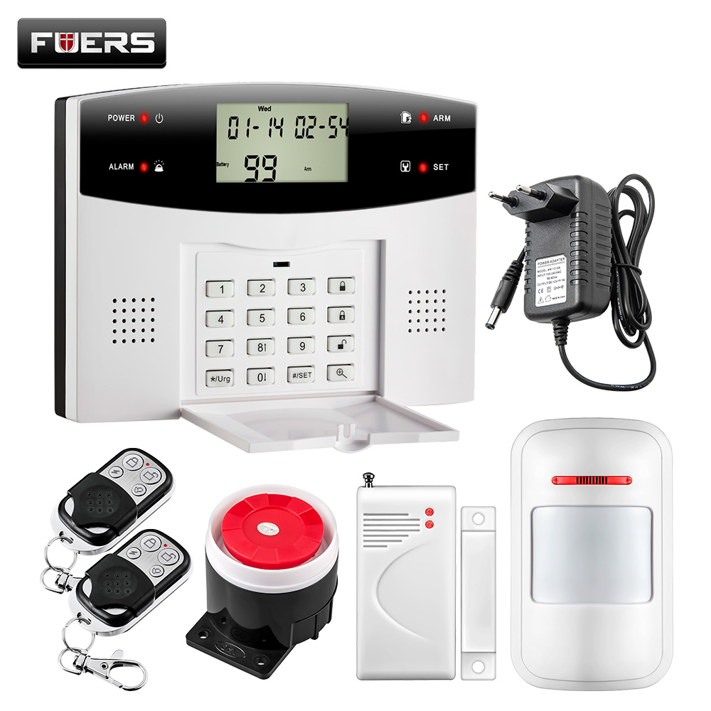 Fuers 99 Wireless 4 Wired zones GSM PSTN Alarm Security Systems Home Remote Control Burglar Alarm System wireless remote control arm disarm detector for fuers touch keypad panel gsm pstn home security burglar voice alarm system