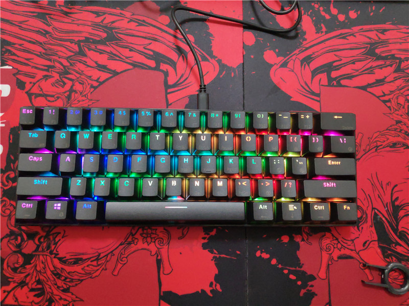 RGB Cherry Mx Brown  Blue Red 61 Keys RK61 Bluetooth Wireless  Backlit Mechanical Keyboard Poker Layout Game Keyboard