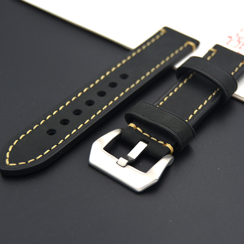 Upscale Handmade Retro Genuine Leather Watch Band Strap for PAM Watch 20mm 22mm 24mm 26mm With Silver Stainless steel Buckles 22mm 24mm 26mm frosted dark blue retro soft mate genuine leather watchband watch strap for pam and big watch free shiping