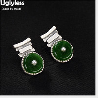Uglyless Vintage Ethnic Natural Green Jade Stud Earrings Women Real Solid 925 Silver Studs Gemstones Button Fine Jewelry Pearls