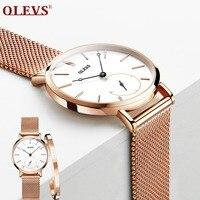 OLEVS Women Watches Luxury Elegant Ladies Rose Stainless Steel Clock Quartz Wristwatches Relogio Feminino horloges vrouwen
