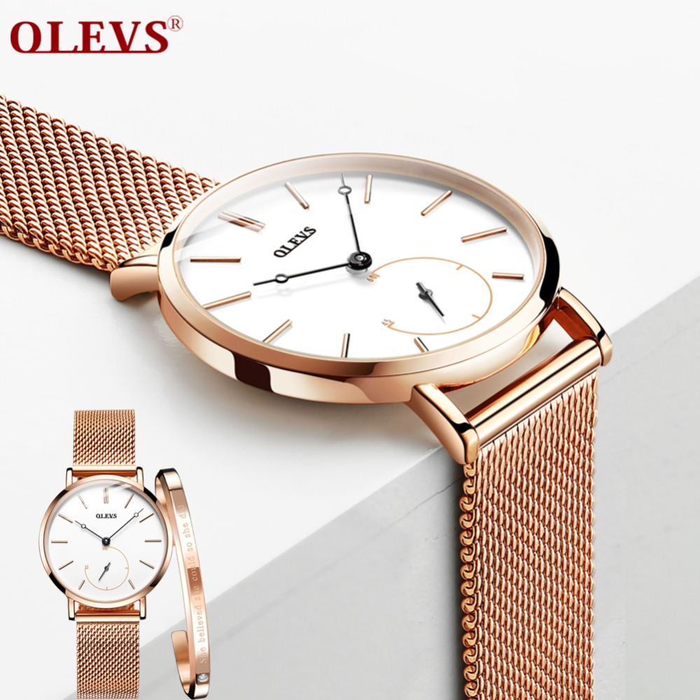 OLEVS Women Watches Luxury Elegant Ladies Rose Stainless Steel Clock Quartz Wristwatches Relogio Feminino horloges vrouwen