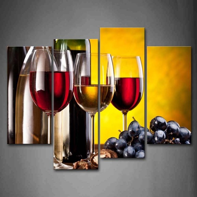 4 Piece No Frame Modern Kitchen Canvas Paintings Red Wine Cup Bottle ...