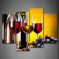 4 Piece No Frame Modern Kitchen Canvas Paintings Red Wine Cup Bottle Wall Art Oil Painting Set Bar Dinning Room decoration