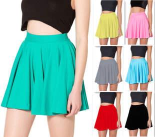 e07efda338 Online Shop New 2018 Women Skirts Spring Summer Neon Green Skater Skirt  Casual Bright Color Pleat Mini Skirts Saia Femal Girl Plus Size