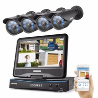 ANNKE 4CH 10 1inch LCD Monitor 1080P HD CCTV System 3IN1 1080P DVR 2 0MP Surveillance