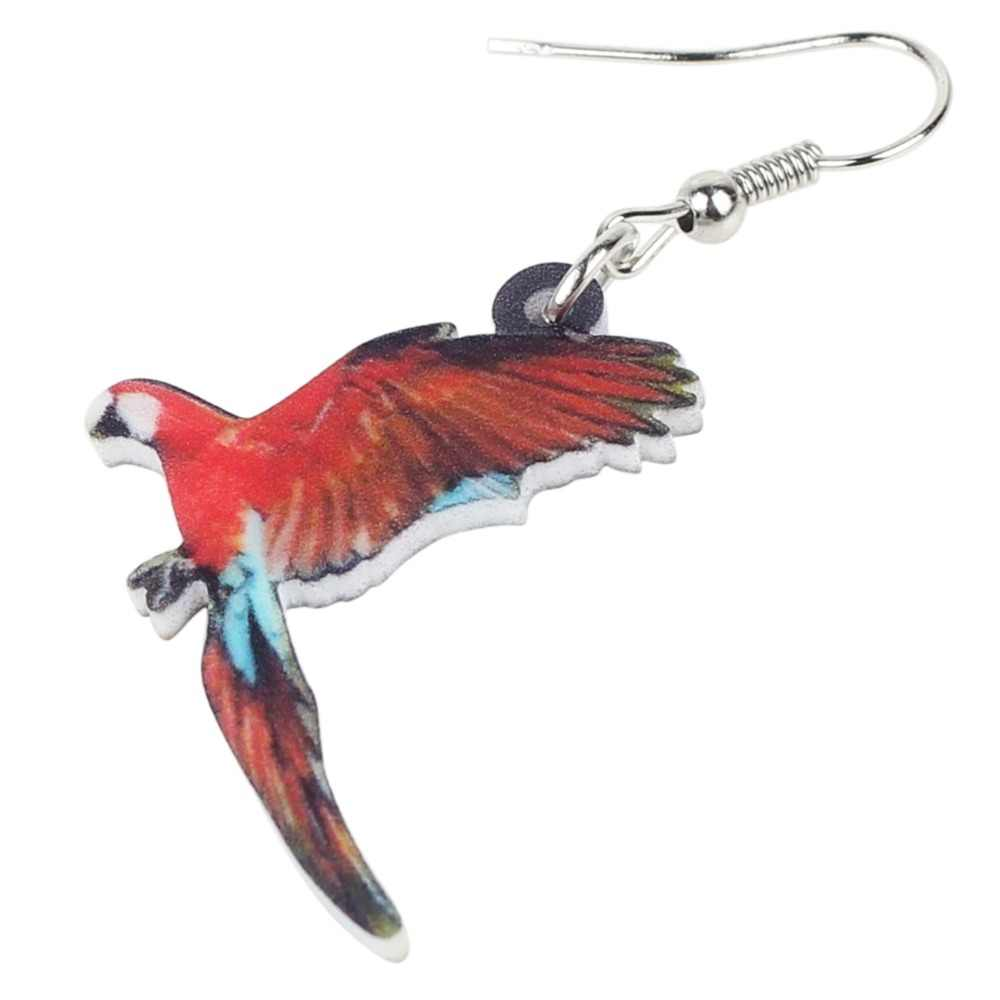 Weveni Novelty Acrylic Flying Red And Green Macaw Parrot Bird Earrings Dangle Drop Tropic Animal Jewelry For Women Girl Female