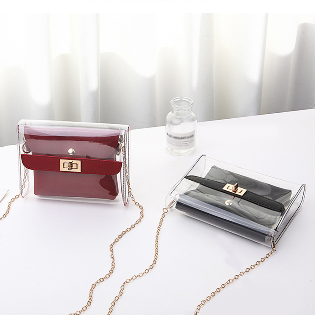Women PVC Clear Bag Fashion 2Pcs Transparent Shoulder Messenger Bags Ladies Small Shopping Bag And Purse Casual Messenger Bag