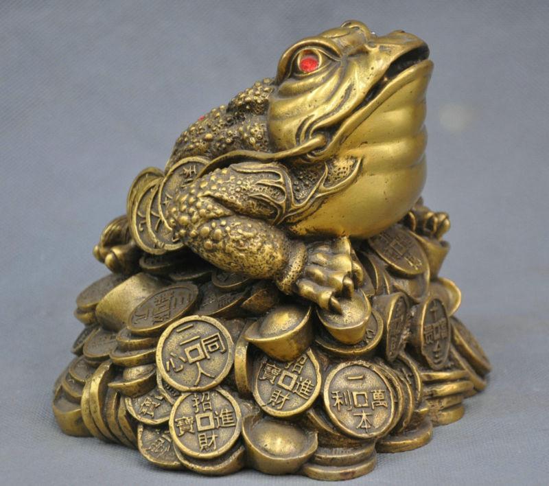 6 China Folk Frog Toad Ingot Lucky Auspicious Bronze Statue6 China Folk Frog Toad Ingot Lucky Auspicious Bronze Statue