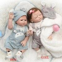 50CM NPK Full Silicone Body Reborn Baby Doll Newborn Baby Boy And Girl Twins doll bebes reborn Kids Play House Toys Brinquedo