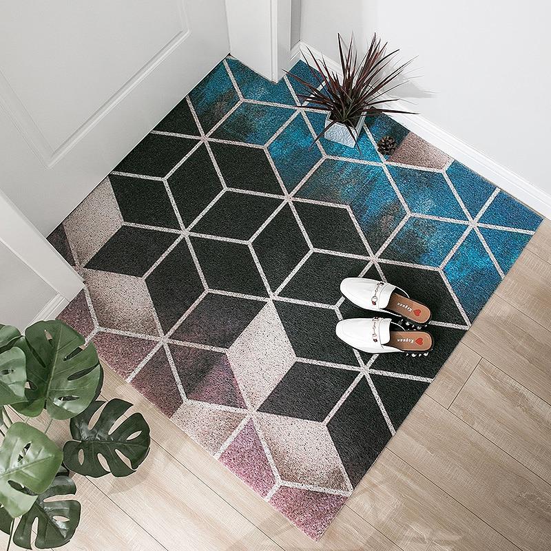 Style nordique hall d'entrée tapis PVC fil boucle tapis INS géométrie créative porte tapis salon tapis de sol salle de bain tapis antidérapant