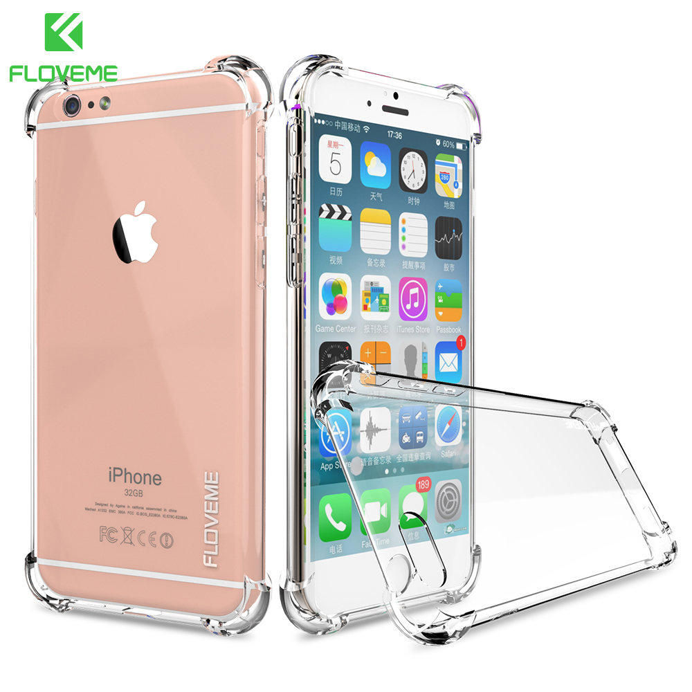 FLOVEME Anti Knock Case For iPhone 6 7 5s Coque for iPhone 6s Fundas Clear Back Silicon Phone Cases for iPhone 7 8 6 7 Plus Capa