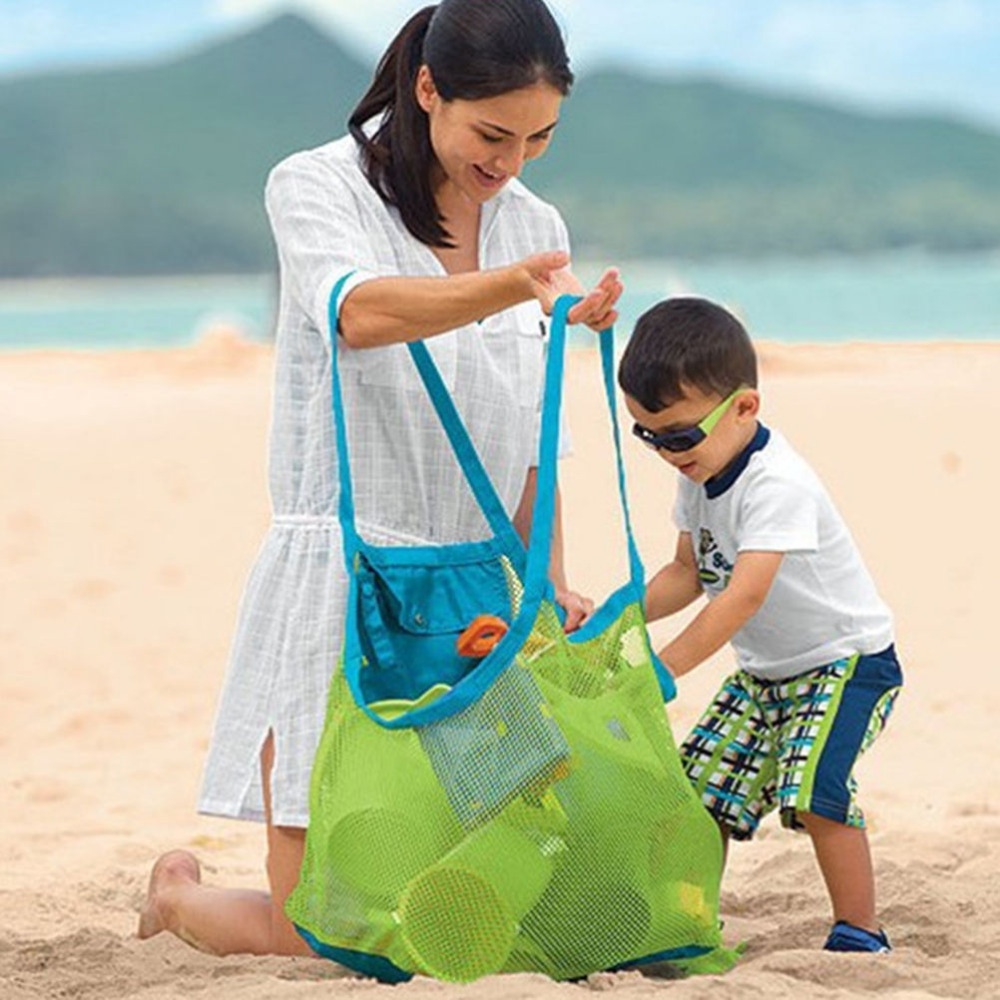 1PCS Clothes Towel Square Bag Extra Large Size Sand Away Beach Mesh Bag Travel Accessories Green/Blue Color