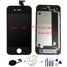 LCD Display Digitizer + Touch Screen + Glass Back Housing Cover + Home Button + Screw Tools Replacement Part For iPhone 4 4G 4S
