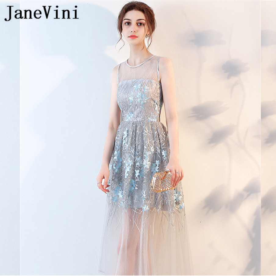 JaneVini 2018 Sexy See Through Tea-Length Women Wedding Party   Dress     Bridesmaid     Dresses   Long Blue Lace Girls Summer Casual Gowns