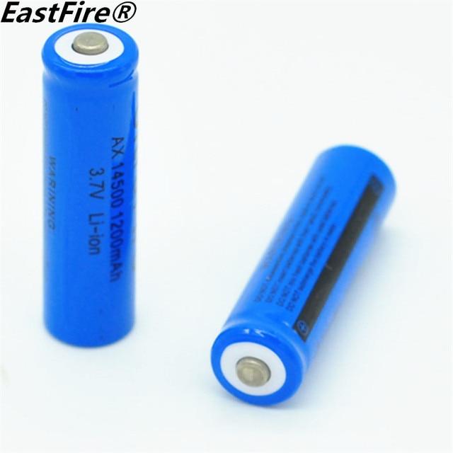 2ピース/ロットeastfire aa 14500 1200 mah 3.7ボルトリチウムイオン充電式電池とled懐中電灯、無料配信