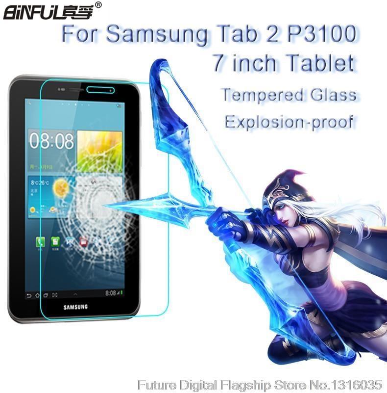 BINFUL Καλύτερο Premium Ρυθμιζόμενο γυαλί για Samsung Galaxy Tab 2 7.0 P3100 P3110 P3108 9H σκληρό διαφανές προστατευτικό φιλμ φιλμ