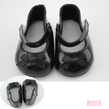 Doll Shoes Fits 18» American Girl Doll Clothes Black Color Leather Fashion Shoes With Bow Doll Accessories