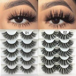 Image 1 - 5 пар 3D Искусственные норковые волосы, мягкие искусственные ресницы, искусственные ресницы, толстые ресницы ручной работы, мягкие натуральные инструменты для макияжа глаз