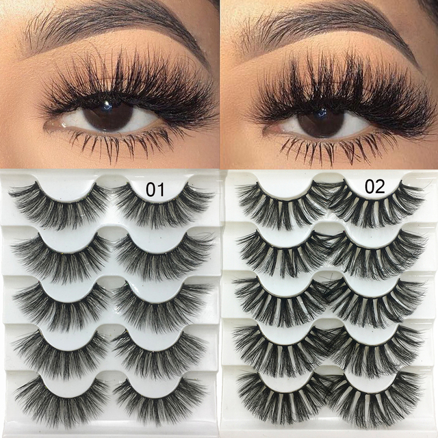5 Pairs 2 Styles 3D Faux Mink Hair Soft False Eyelashes Fluffy Wispy Thick Lashes Handmade