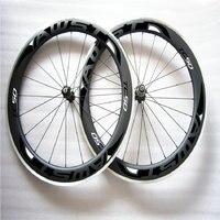 AWST 700C Alluminum Braking Surface Carbon Fiber Road Bike Wheels Poweyway Hubs Carbon Wheelset Clincher 50mm