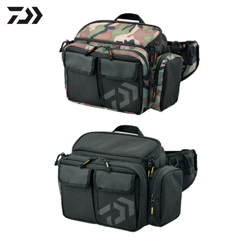 30x14x19cm Canvas Fishing Lure Reel Bag Fishing Tool Storage Bag Multi functional Outdoor Waist Shoulder Bag