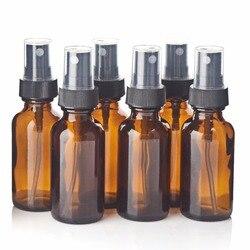 6 sztuk 30ml szklana butelka z rozpylaczem z czarnym grzywny mgły opryskiwacz wielokrotnego użytku olejku butelki puste pojemniki kosmetyczne 1Oz