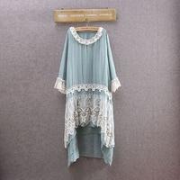 Japanese Mori Girl Hippie Boho Bohemian Lolita Crochet Lace Patchwork Cotton Linen Rockabilly Vetement Femme Women Spring Dress