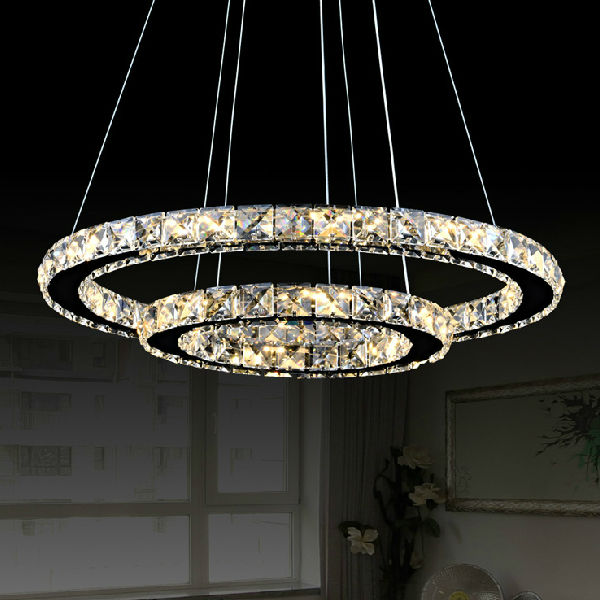 Hot Sale Modern Two Circles LED Crystal Chandelier Light Pendant With Dia.400+200XH650mm Position Diamond Ring Free Shipping-in Pendant Lights from Lights ... & Hot Sale Modern Two Circles LED Crystal Chandelier Light Pendant ...
