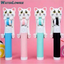 Waterlowrie 2017 Cartoon Cat Selfie Mini Selfie Sticks Monopod Wired Extendable For iPhone Samsung Android Smartphone