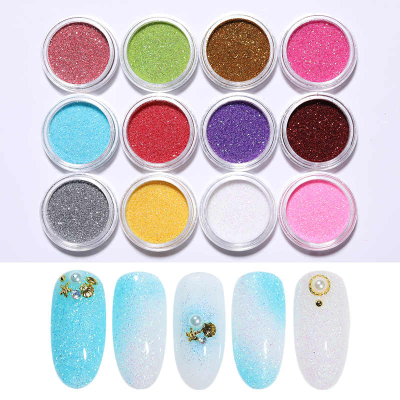 12 colores polvo de purpurina de uñas efecto espejo metálico manicura juego de manicura arte UV Gel decoración de uñas
