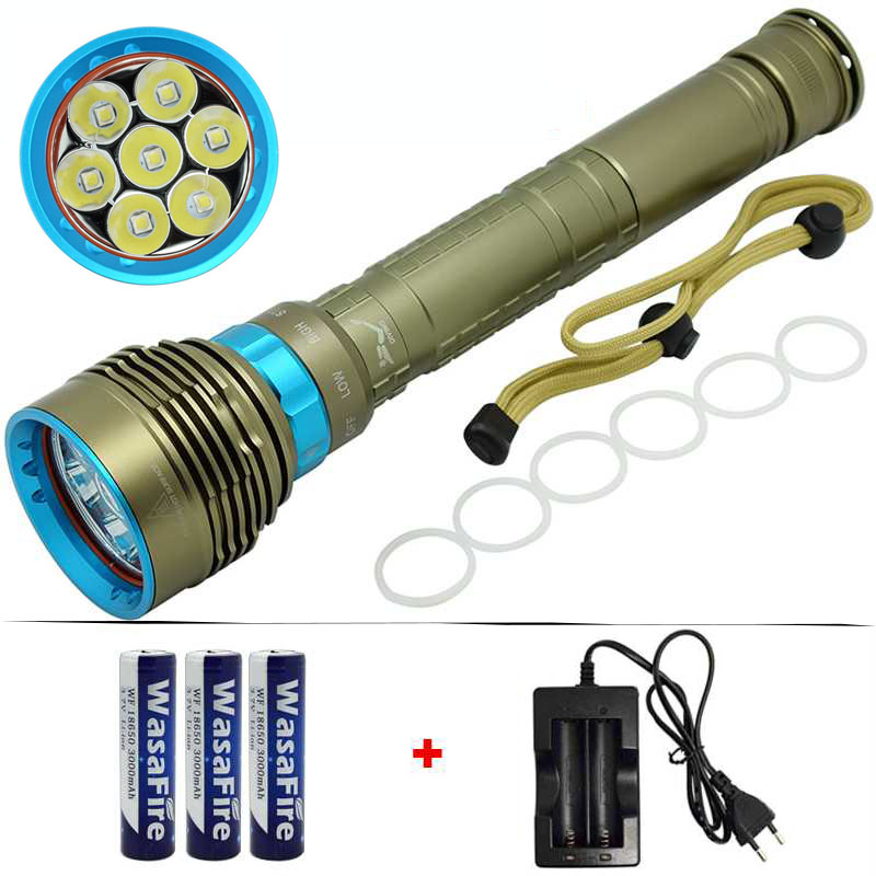 Diving Light Waterproof Flashlight 15000 Lumens 7x XM-L L2 LED Diving Flashlight Lamp 18650 Battery Under Water 100m Torch Light led xm l2 flashlight 8000lumens tactical flashlight hunting flash light torch lamp 18650 battery charger gun mount