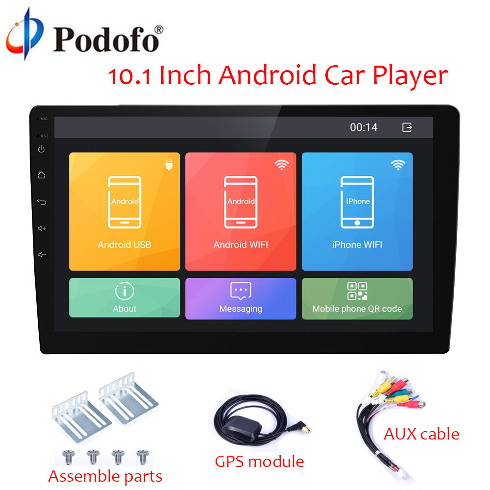 Podofo Android 10.1 inch HD Car Radio 2 Din Autoradio GPS Navigation Wifi Bluetooth MP5 Multimedia Player 2 DIN Audio Stereo