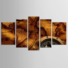 5 panel Golden Clock Map Still Life Wall Painting Home Living Room Decoration Print Picture Canvas