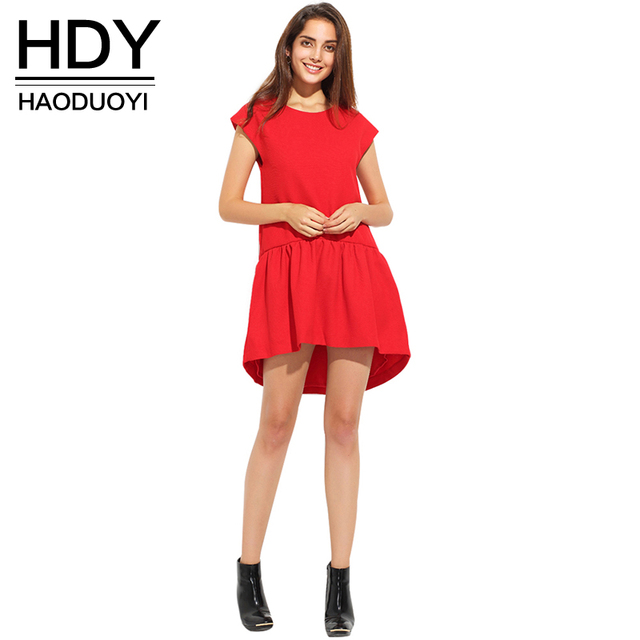 HDY Haoduoyi Dress Women Summer Short Sleeve Pleated Girl Mini Dress Irregular Loose O-Neck Solid Casual Party Dresses