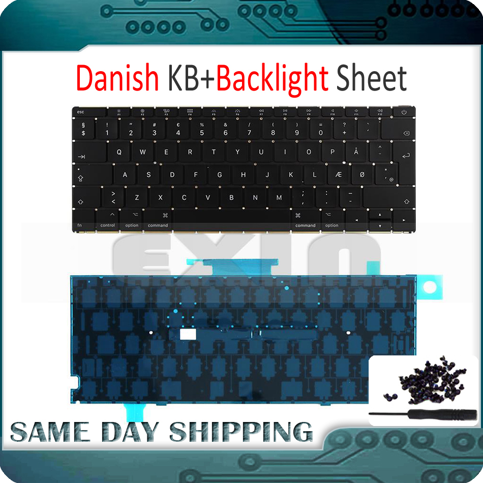 Mid 2017 New A1534 Danish Keyboard w/ Backlight Backlit +Screws for Macbook 12 A1534 Denmark Danmark DK Keyboard MNYF2 MNYG2 early 2016year new original a1534 for macbook 12 a1534 sp spain spanish keyboard without backlight backlit emc 2991