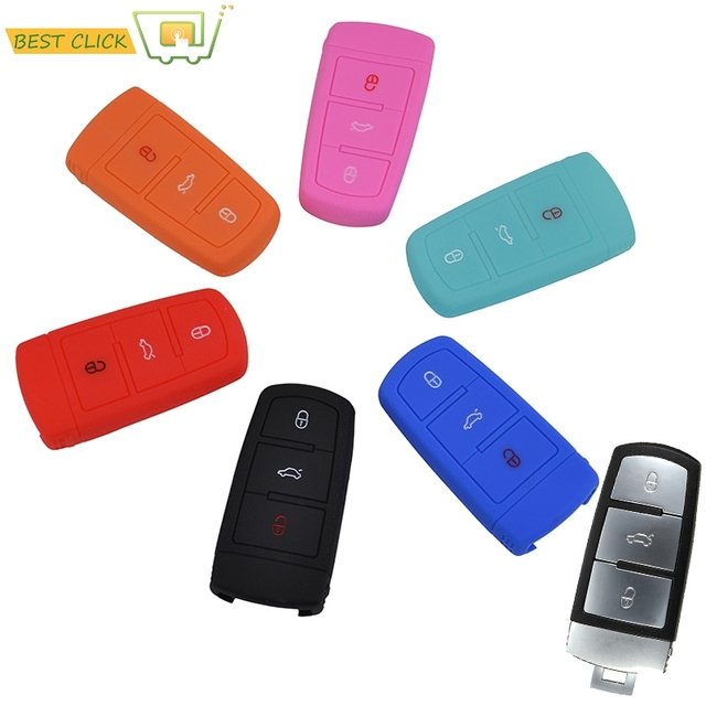3 On Silicone Key Fob Case Cover Fit For Vw Volkswagen Cc Pat B6 B7 Styling Protector Shell Skin Holder