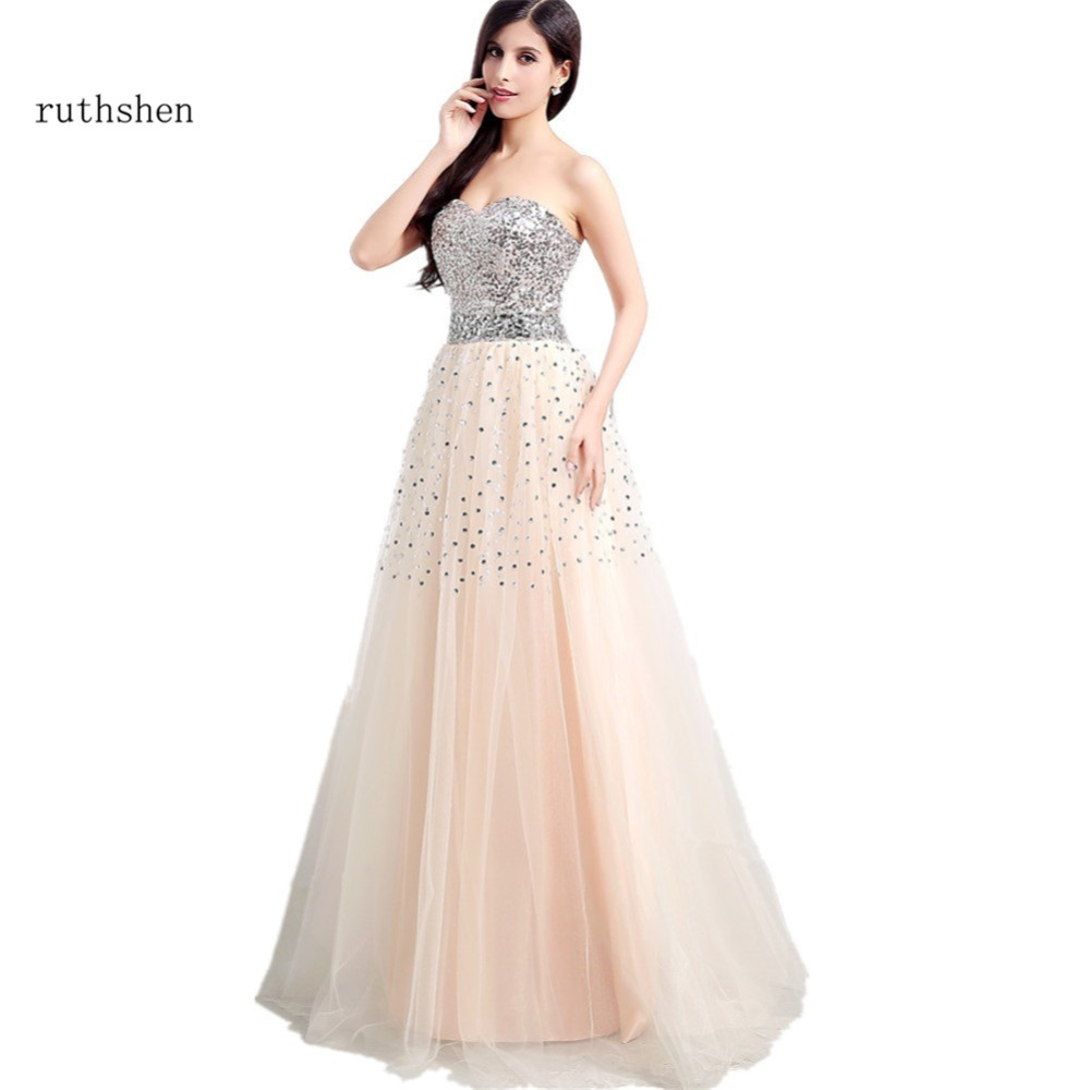 ruthshen Hot Sale Cheap   Bridesmaid     Dresses   2018 Sweetheart Long Sequins Tulle Wedding Party   Dress   For Women Formal Occasion