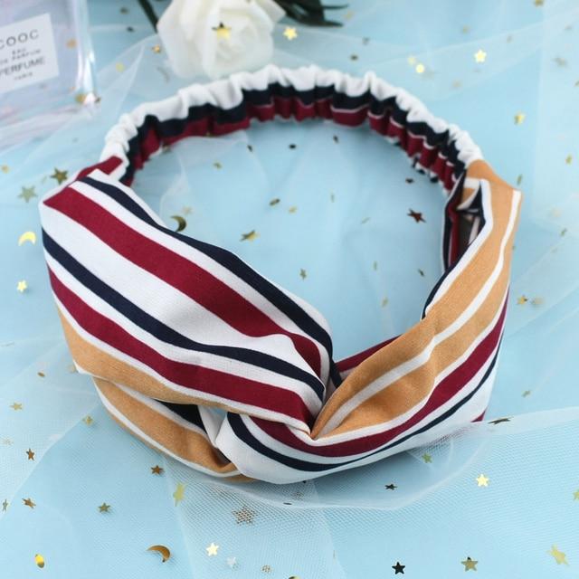 Gift Ear studs Woman Knotted Turban Hair Accessories for Girls Turban Elastic Hairband Head Wrap Striped  Hair Scrunchies W276 3